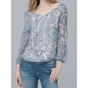 WHBM blue paisley blouse